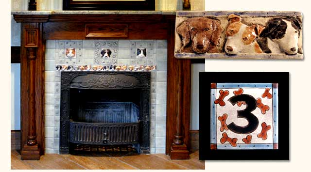 Dog and cat tile fireplace