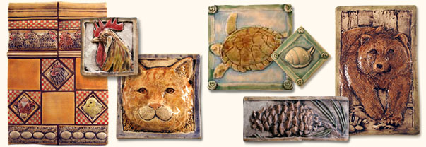 chicken tiles, turtle tile, pinecone tile, bear tile, cat tile
