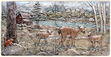 Doe and fawn tile mural