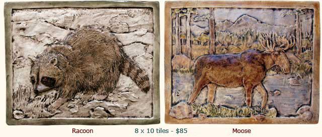 Rustic Relief Wildlife Animal Ceramic Art Tiles Outdoor