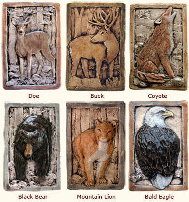 doe, buck, coyote, bear, mountain lion tiles